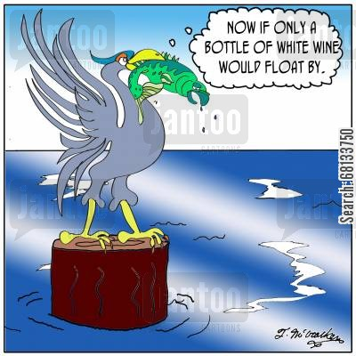 "seabird cartoon humor: ""Now if only a bottle of white wine would float by."""