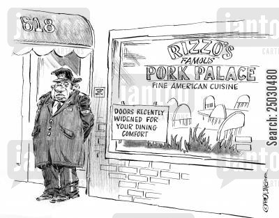 overeat cartoon humor: Doors widened for your dining pleasure.