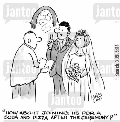 sodas cartoon humor: 'How about joining us for a soda and pizza after the ceremony?'