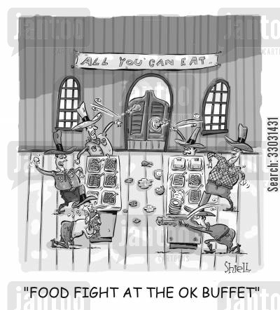 all you can eat buffet cartoon humor: Food Fight At The OK Buffet.