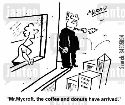 suicide attempts cartoon humor: Mr. Mycroft, the coffee and donuts have arrived.