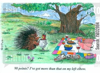 porcupines cartoon humor: '98 points? I've got more than that on my left elbow.'