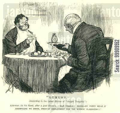 alcohols cartoon humor: Two Men Dining.