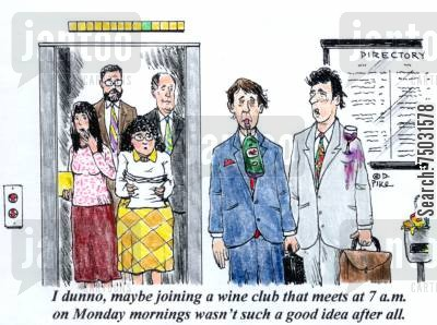 bad ideas cartoon humor: 'I dunno, maybe joining a wine club that meets at 7 a,m, on Monday mornings wasn't such a good idea after all,'