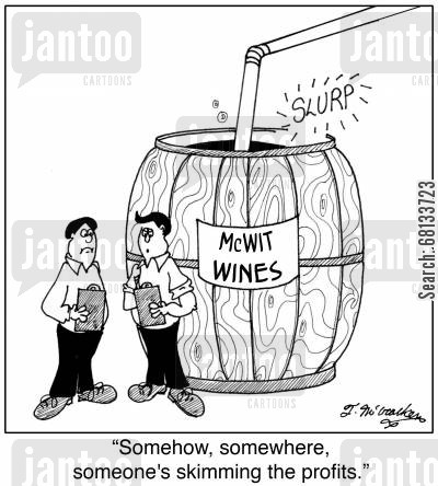 employee theft cartoon humor: 'Somehow, somewhere, someone's skimming the profits.'