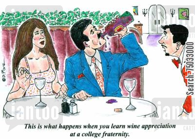 fraternities cartoon humor: 'This is what happens when you learn wine appreciation at a college fraternity.'
