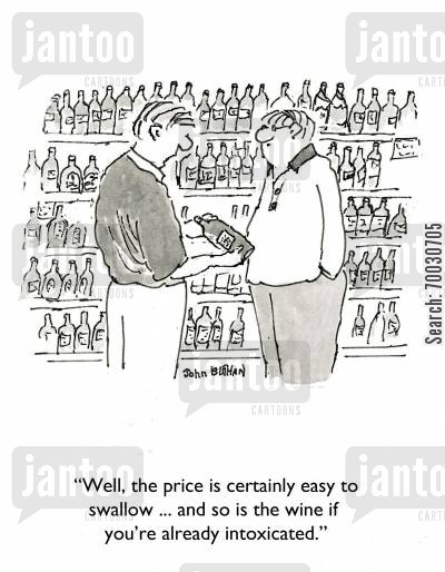 fruity cartoon humor: 'Well, the wine is certainly easy to swallow ... and so is the wine if you're already intoxicated.'