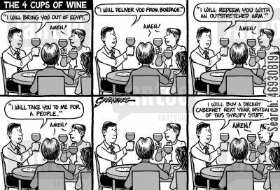 religious belief cartoon humor: Passover wine - 'I will buy a decent cabaret next year.'