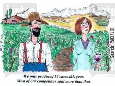 spillage cartoon humor: 'We only produced 50 cases this year. Most of our competitors spill more than that.'