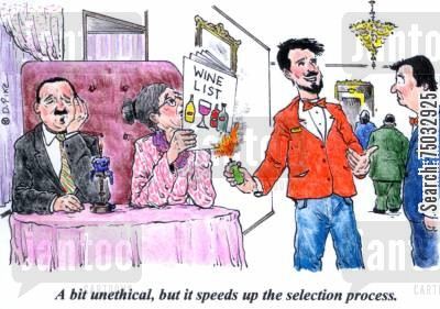 drinks menu cartoon humor: 'A bit unethical, but it speeds up the selection process.'
