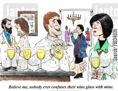 mix up cartoon humor: 'Believe me, nobody ever confuses their wine glass with mine.'