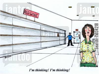 grocery stores cartoon humor: 'I'm thinking! I'm thinking!'