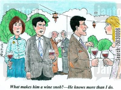 alcoholic beverages cartoon humor: 'What makes him a wine snob? - He knows more than I do.'