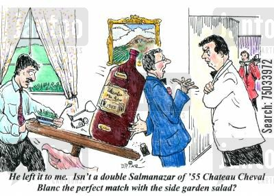 dine cartoon humor: 'He left it to me. Isn't a double Salmanazar of '55 Chateau Cheval Blanc the perfect match with the side garden salad?'