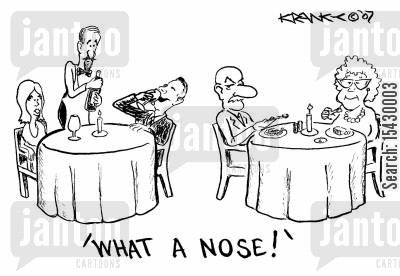 gourmand cartoon humor: 'What a Nose!'