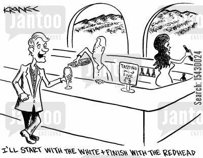 flirtations cartoon humor: 'I'll start with the white and end with the redhead