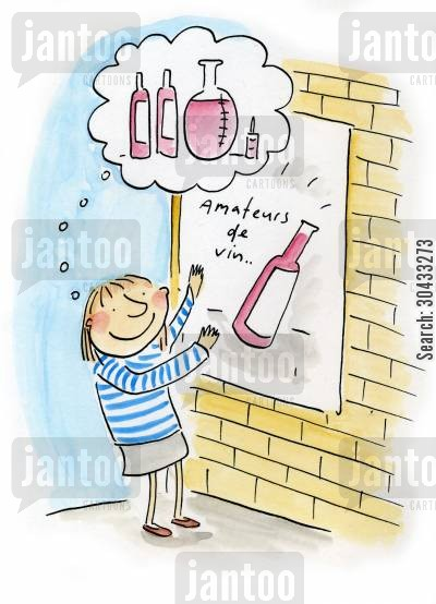 alcholic beverages cartoon humor: Amateurs de vin...