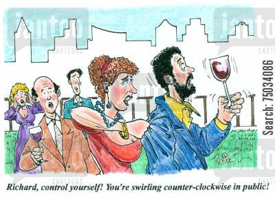 ritual cartoon humor: 'Richard, control yourself! You're swirling counter-clockwise in public!'