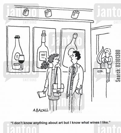 binge cartoon humor: 'I don't know anything about art but I know what wines I like.'