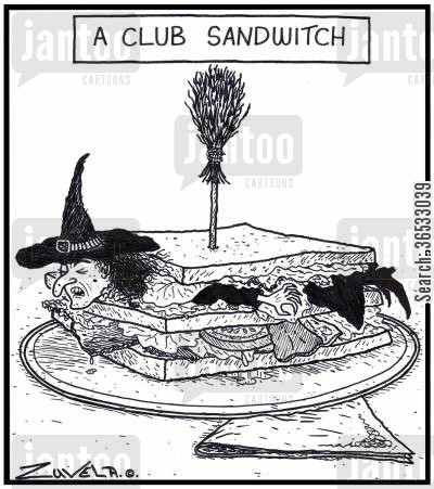 fillings cartoon humor: A Club Sandwitch.