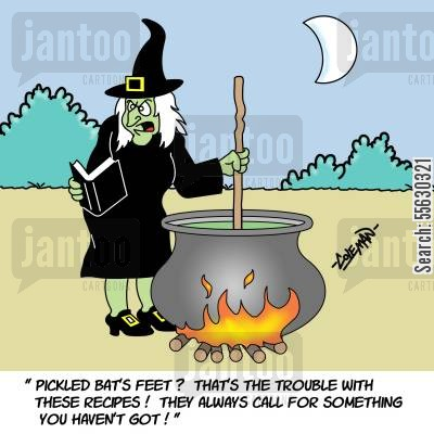 mixing spells cartoon humor: Witch Trying To Follow A Recipe.