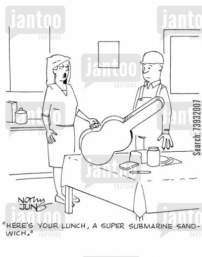 guitar cases cartoon humor: 'Here's your lunch, a super submarine sandwich.'