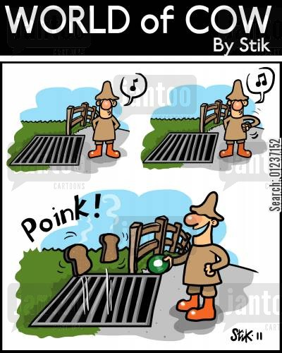 rural life cartoon humor: Cattle Grid Toast