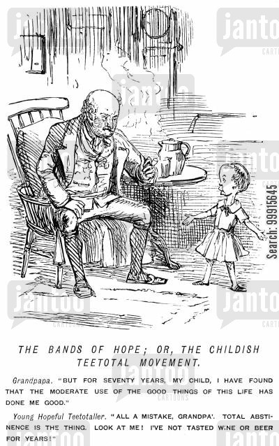 consumption cartoon humor: Small child advocating teetotalism to his grandfather