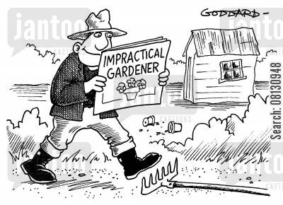 paying attention cartoon humor: Impractical Gardener.