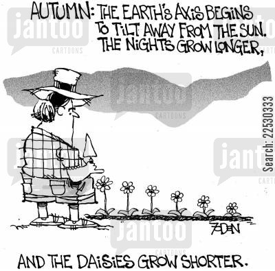 months cartoon humor: Autumn: The Earth's axis begins to tilt away from the sun. The nights grow longer and the daisies grow shorter.
