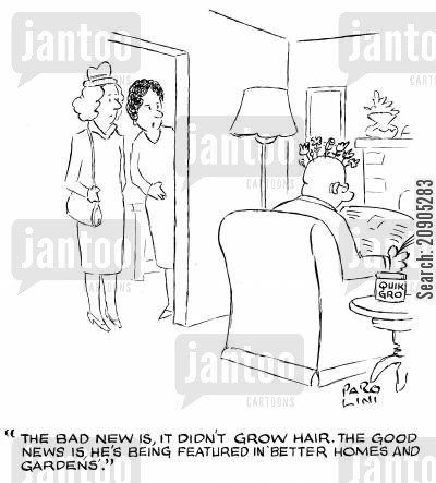 fertiliser cartoon humor: 'The bad news is, it didn't grow hair. The good news is, he's being featured in 'Better Homes and Gardens'.' (Quick Gro tub next to chair.)