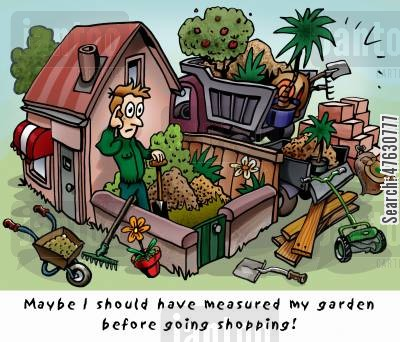 garden centre cartoon humor: Maybe I should have measured my garden before going shopping....