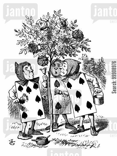 children's literature cartoon humor: Alice in Wonderland - Painting the Rose Tree.