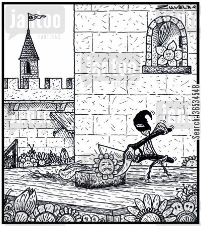 guillotine cartoon humor: A Flower is about to executed by Secateurs