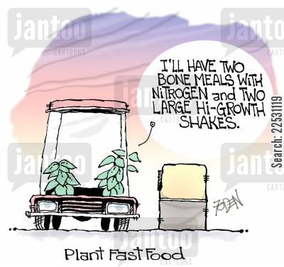 fertiliser cartoon humor: Plant Fast Food.