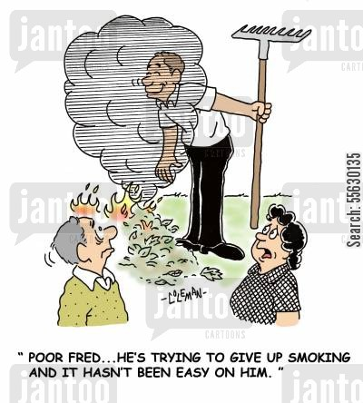 inhaling cartoon humor: Poor Fred, he's been trying to give up smoking and it hasn't been easy on him.