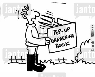 pop-up book cartoon humor: 'Pop-Up gardening book'