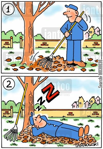 maintenance men cartoon humor: Man rakes up leaves so he can have a comfy nap.
