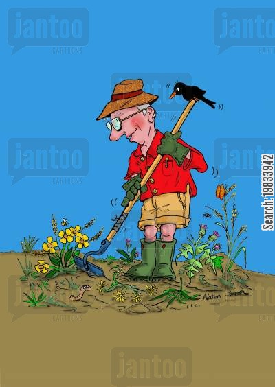 flower bed cartoon humor: The happy gardener