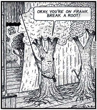 roots cartoon humor: 'Okay, you're on Frank. Break a Root!'