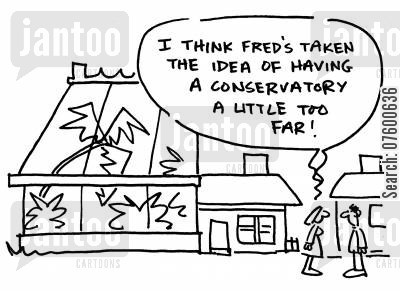 green house cartoon humor: 'I think Fred's taken the idea of having a conservatory a little too far!'
