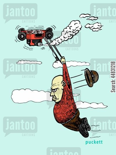 grandpa cartoon humor: Grandpa gets more than he bargained for when his lawnmower takes flight as a helicopter would.
