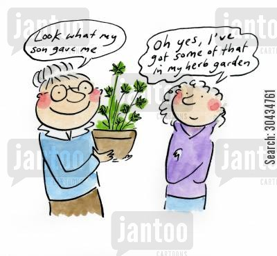 herb cartoon humor: 'Look what my son gave me!'