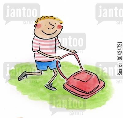 grass cuttings cartoon humor: Lawnmower