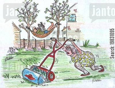 cut the grass cartoon humor: Energy conservation.