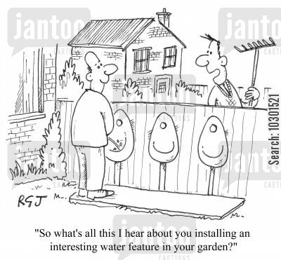 garden fences cartoon humor: 'So what's all this I hear about you installing an interesting water feature in your garden?'