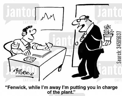 pot plants cartoon humor: Fenwick, while I'm away I'm putting you in charge of the plant.