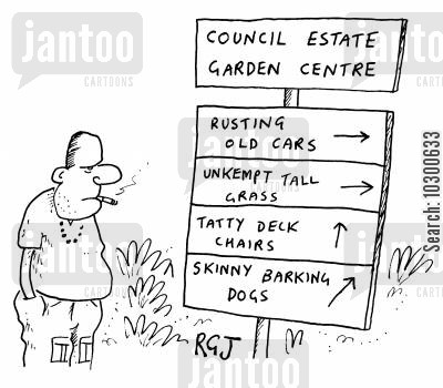 garden centre cartoon humor: 'Council estate garden centre: Old cars, barking dogs etc'