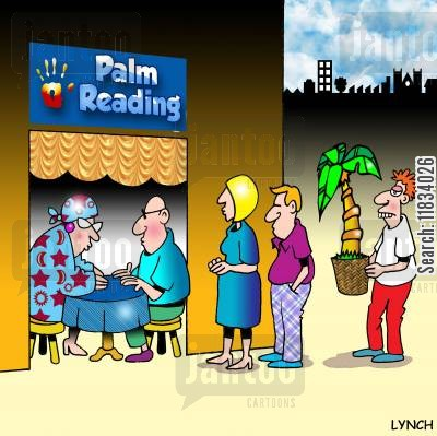 pot plants cartoon humor: Palm Reading