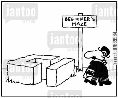 show garden cartoon humor: 'Beginner's maze.'